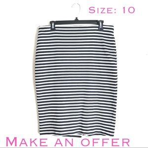 Striped Black and White Stretchy Pencil Skirt
